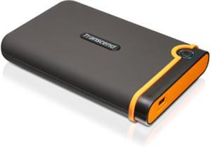 """Transcend StoreJet 25M2 500GB ext. HDD 2.5"""" USB 2.0, Anti-Shock-odolné silikonové pouzdro, šedo/oranžový"""