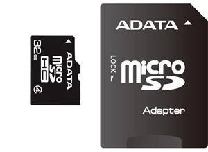 32GB Micro Secure Digital Card HC Class 4 ADATA + SD adapt�r