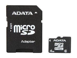 4GB Micro Secure Digital Card HC Class 6 + SD adaptér