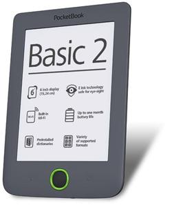 PocketBook 614 Basic2 Grey ebook reader, 6´´ E-ink 800x600 LCD, WLAN b/g/n, 4GB/SD+100 knih zdarma