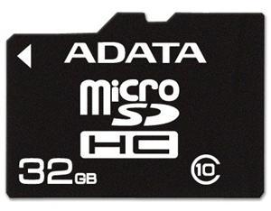 32GB Micro SDHC Premier Class 10, ADATA UHS-I U1 + SD adaptér