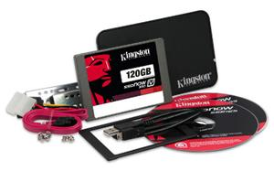 "Kingston SATA3 2.5"" SSD disk 120GB SSDNow V300-Series,SATA/600,čtení 450MB/s,zápis 450MB/s,výška7mm,Upgrade Kit+adapter"