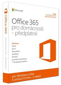 Microsoft Office 365 pro domácnosti 32-bit/x64 CZ Medialess - předplatné na 1 rok