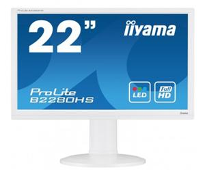 """21.5"""" Iiyama LCD LED ProLite B2280HS-W1 1920x1080 FHD,5ms,VGA,DVI,HDMI,repro,pivot,bílá"""