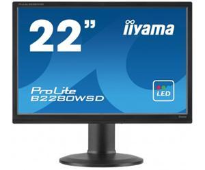 """22"""" Iiyama LCD LED ProLite B2280WSD-B1 1680x1050 HD+,5ms,VGA,DVI,repro,pivot,černá"""