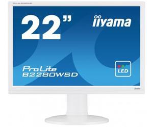 """22"""" Iiyama LCD LED ProLite B2280WSD-W1 1680x1050 HD+,5ms,VGA,DVI,repro,pivot,bílá"""