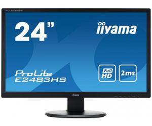 """24"""" Iiyama LCD LED ProLite E2483HS-B1 1920x1080 FHD,2ms,VGA,DVI,HDMI,repro,černá"""