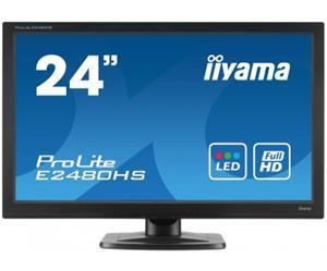 """24"""" Iiyama LCD LED ProLite E2480HS-B2 1920x1080 FHD,1ms,VGA,DVI,HDMI,repro,černá"""