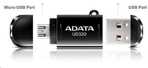32GB Flash Disk USB 2.0 ADATA UD320, Black, podpora OTG pro připojení k tabletu či telefonu