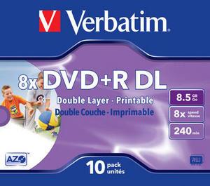 Verbatim DVD+R 8,5 GB 8x Double Layer Printable Jewel (10ks)