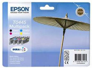 Epson inkoustové náplně Multipack 4ink T0445 pro C64/ C66/ C84/ C86/ CX6x00/ CX36x0