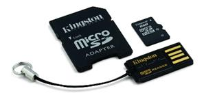 8GB Micro Secure Digital Card HC Class 10 Kingston Mobility Kit G2+adapter+USB čtečka