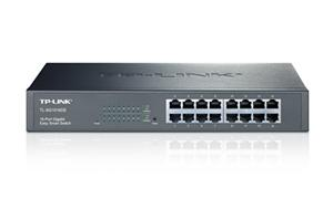 "TP-LINK TL-SG1016DE Gigabit Easy Smart Switch 16x 10/100/1000Mbps, MTU/Port/Tag-based VLAN, 13"" rack, kovový"