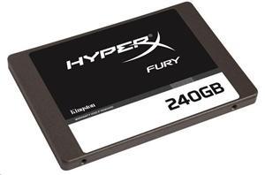 "Kingston SATA3 2.5"" SSD disk 240GB HyperX FURY SSD, čtení 500MB/s, zápis 500MB/s, výška7mm+adapter"