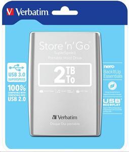 """VERBATIM 2TB Externí HDD 2.5"""", USB 3.0, 8MB cache, stříbrný"""
