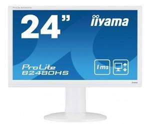 """24"""" Iiyama LCD LED ProLite B2480HS-W2 1920x1080 FHD,1ms,VGA,DVI,HDMI,repro,pivot,bílá"""