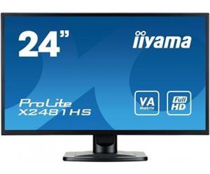 """24"""" Iiyama LCD LED VA ProLite X2481HS-B1 1920x1080 FHD,6ms,VGA,DVI,HDMI,repro,černá"""