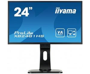 """24"""" Iiyama LCD LED VA ProLite XB2481HS-B1 1920x1080 FHD,6ms,VGA,DVI,HDMI,pivot,repro,černá"""