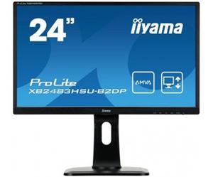 """24"""" Iiyama LCD LED AMVA ProLite XB2483HSU-B2DP 1920x1080 FHD,4ms,VGA,DVI,DP,USB Hub,pivot,repro,černá"""