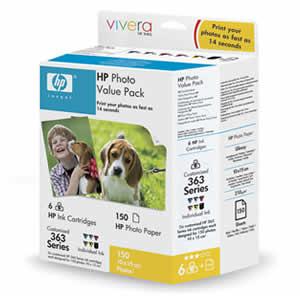 HP photo Pack Q7966EE (6x barvy č. 363 + 150ks 10x15)